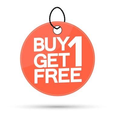 Buy 1 Get 1 Free, Sale banner design template, bogodiscount tag, app icon, vector illustration