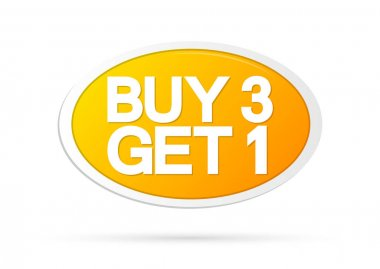 Buy 3 Get 1 Free, Sale banner design template, discount tag, app icon, vector illustration