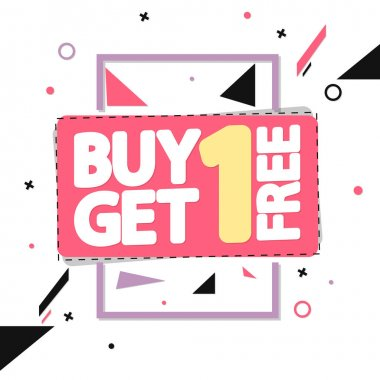 Buy 1 Get 1 Free, Sale banner design template, bogodiscount tag, app icon, vector illustration