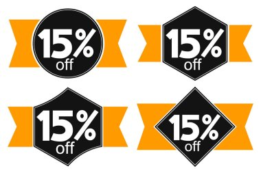 Sale 15% off, discount banners design template, promo tags, extra offers, vector illustration