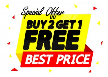 Buy 2 Get 1 Free, special offer, Sale banner design template, discount tag, best price, app icon, vector illustration