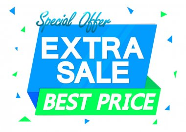 Extra Sale, banner design template, discount tag, promotion app icon, vector illustration