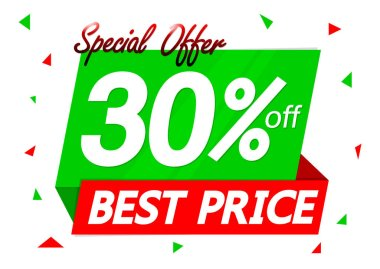 Sale 30% off, discount banner design template, promo tag, special offer, vector illustration