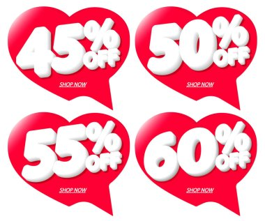Set Sale tags, discount speech bubble banners design template, Valentines Day discount, app icons, vector illustration