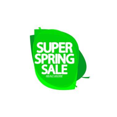 Super Spring Sale, bubble banner design template, discount tag, app icon, vector illustration