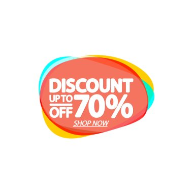 Sale up to 70% off, bubble banner design template, discount tag, app icon, vector illustration
