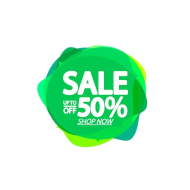 Sale up to 50% off, bubble banner design template, discount tag, app icon, vector illustration