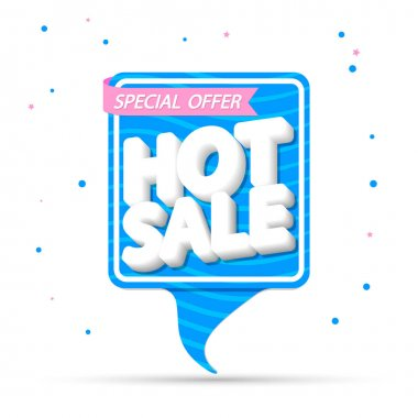 Hot Sale, tag design template, discount speech bubble banner, Summer special offer, app icon, vector illustration