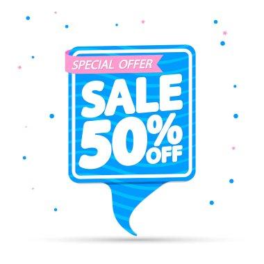 Summer Sale 50% off, banner design template, discount tag, special offer, vector illustration