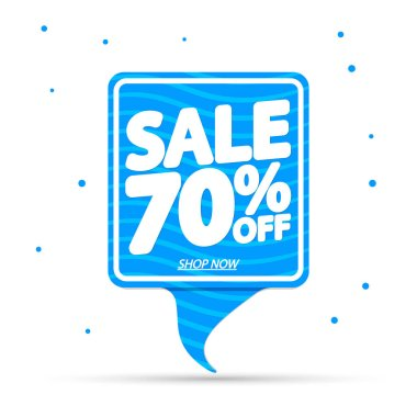 Summer Sale 70% off, banner design template, discount tag, special offer, vector illustration