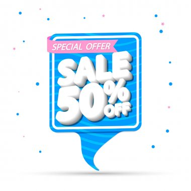 Summer Sale 50% off, banner design template, discount tag, special offer, vector illustration