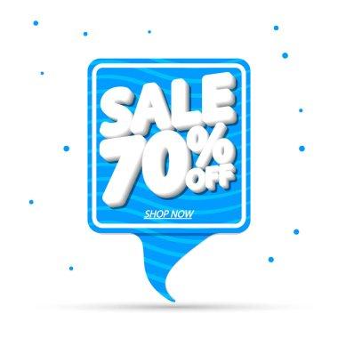 Summer Sale 70% off, banner design template, discount tag, special offer, vector illustration