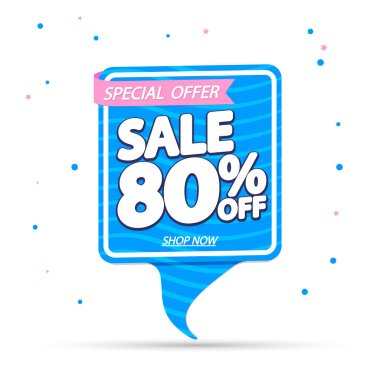 Summer Sale 80% off, banner design template, discount tag, special offer, vector illustration