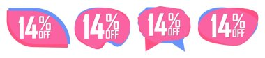 Set Sale 14% off bubble banners, discount tags design template, vector illustration