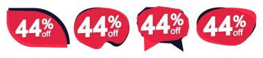Set Sale 44% off bubble banners, discount tags design template, vector illustration