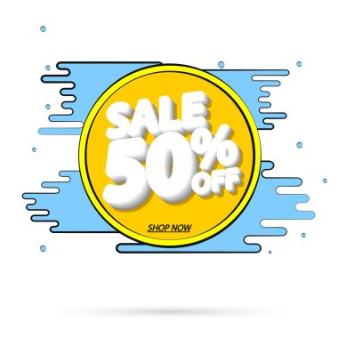 Sale 50% off, banner design template, Summer discount tag, app icon, vector illustration