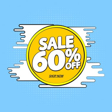 Sale 60% off, banner design template, Summer discount tag, app icon, vector illustration