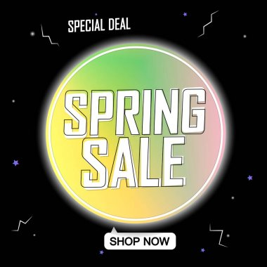 Spring Sale, banner design template, discount tag, promotion app icon, vector illustration