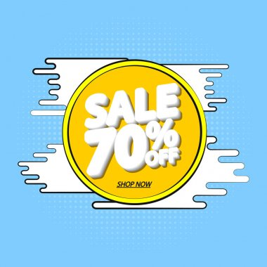 Sale 70% off, banner design template, Summer discount tag, app icon, vector illustration