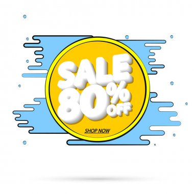 Sale 80% off, banner design template, Summer discount tag, app icon, vector illustration