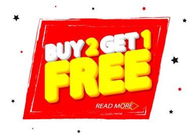Buy 2 Get 1 Free, sale banner design template, discount tag, grunge brush, vector illustration