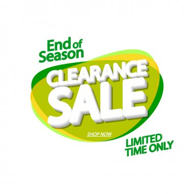 Clearance Sale tag, bubble banner design template, end of season, app icon, vector illustration