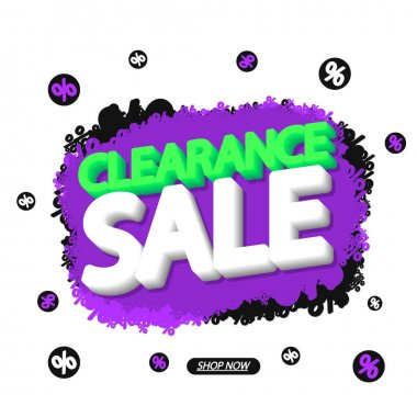Clearance Sale tag, bubble banner design template, app icon, vector illustration
