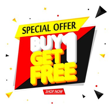 Buy 1 Get 1 Free, Sale banner design template, discount tag, special offer, app icon, vector illustration