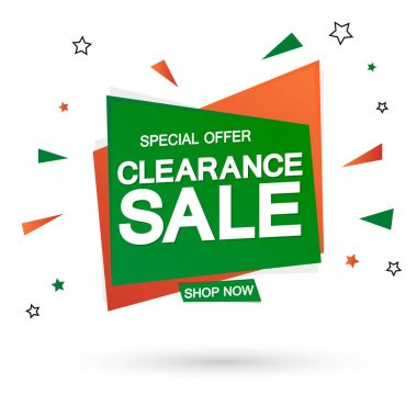 Clearance Sale, banner design template, discount tag, special offer, promotion app icon, vector illustration