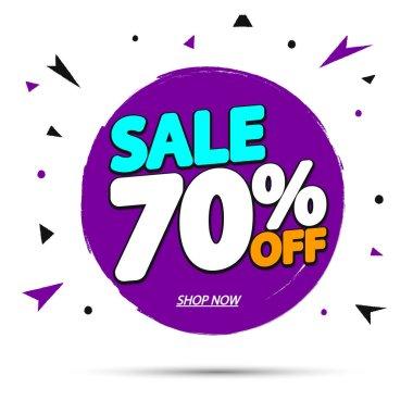 Sale 70% off, banner design template, discount tag, grunge brush, vector illustration