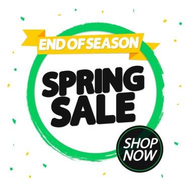 Spring Sale, banner design template, discount tag, grunge brush, vector illustration