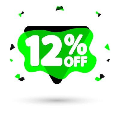 Sale 12% off, bubble banner design template, discount tag, vector illustration