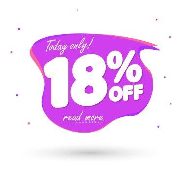 Sale 18% off, bubble banner design template, discount tag, vector illustration