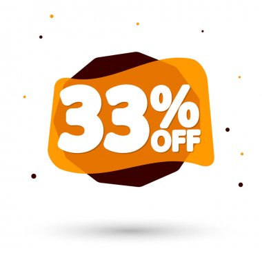Sale 33% off, bubble banner design template, discount tag, vector illustration