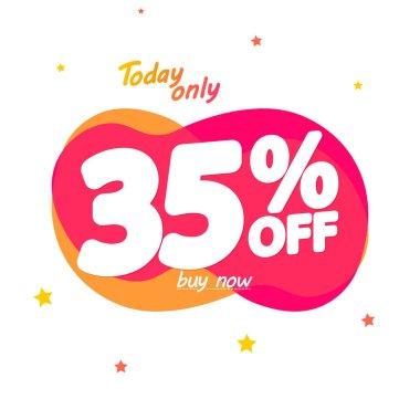 Sale 35% off, bubble banner design template, discount tag, vector illustration