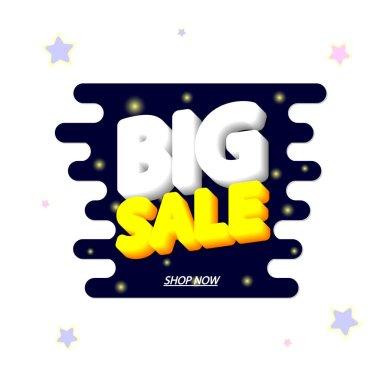 Big Sale, promotion banner design template, discount tag, vector illustration