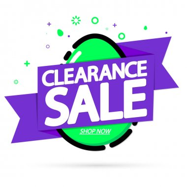 Clearance Sale, banner design template, Easter offer, holiday promotion, discount tag, app icon, vector illustration