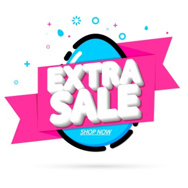 Extra Sale, banner design template, Easter offer, holiday promotion, discount tag, app icon, vector illustration