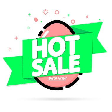 Hot Sale, banner design template, Easter offer, holiday promotion, discount tag, app icon, vector illustration