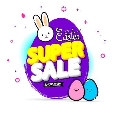 Super Sale, banner design template, Easter offer, holiday promotion, discount tag, grunge brush, vector illustration
