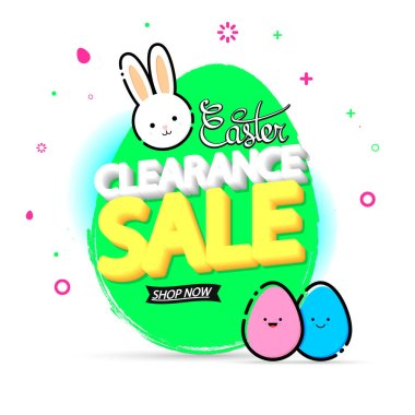 Clearance Sale, banner design template, Easter offer, holiday promotion, discount tag, grunge brush, vector illustration