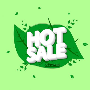 Hot Sale, banner design template, Spring discount tag, promotion app icon, vector illustration