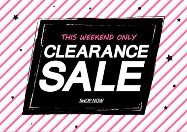 Clearance Sale, banner design template, discount tag, grunge brush, vector illustration