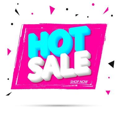 Hot Sale, banner design template, discount tag, grunge brush, vector illustration