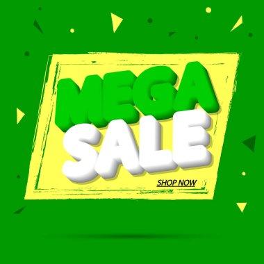 Mega Sale, banner design template, discount tag, grunge brush, vector illustration