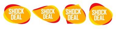 Shock Deal, set sale bubble banners design template, discount tags, vector illustration