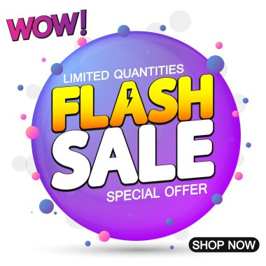 Flash Sale, promotion banner design template, discount tag, special offer, vector illustration