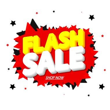 Flash Sale, promotion banner design template, discount tag, vector illustration