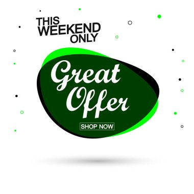 Great Offer, sale bubble banner design template, discount tag, app icon, vector illustration