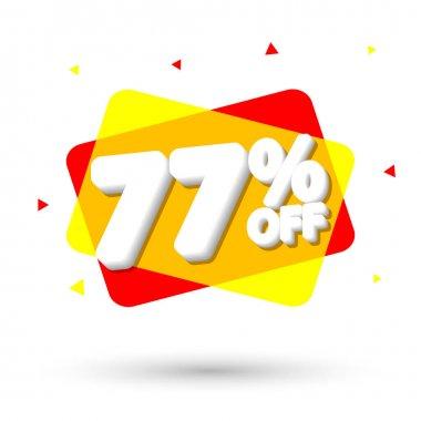 Sale 77% off, bubble banner design template, discount tag, vector illustration